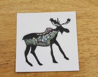Mountain Moose Sticker - Vinyl Sticker - Laptop Decal - Outdoor Sticker - Vinyl Decal - Environmental Sticker - Art Decal