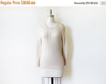 20% OFF SALE pointelle lace sweater, vintage 80s oatmeal cream lace sweater, extra small pullover sweater