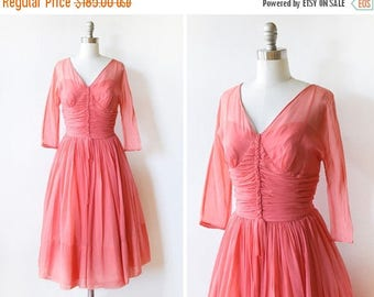 20% OFF SALE 50s chiffon dress, vintage 1950s coral pink chiffon party dress, small