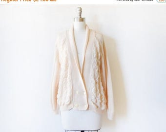 20% OFF SALE vintage cream cable knit cardigan, 80s soft cream sweater, slouchy cardigan sweater, large l