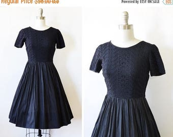 20% OFF SALE 50s black dress, vintage 1950s black eyelet dress, early 60s black lace dress, extra small xs