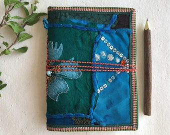 Hand Stitched Journal, Blank Book, Multicolored Book, Recycled Paper Diary, Art Zine, Food Journal, Recipe Book, Sari Cover