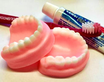 Denture Soap Set - False Teeth, Gag Gift, Tooth Soap, Prank Soap, You Choose Scent, Soap Dentures, Funny Soap, Over The Hill, Silly