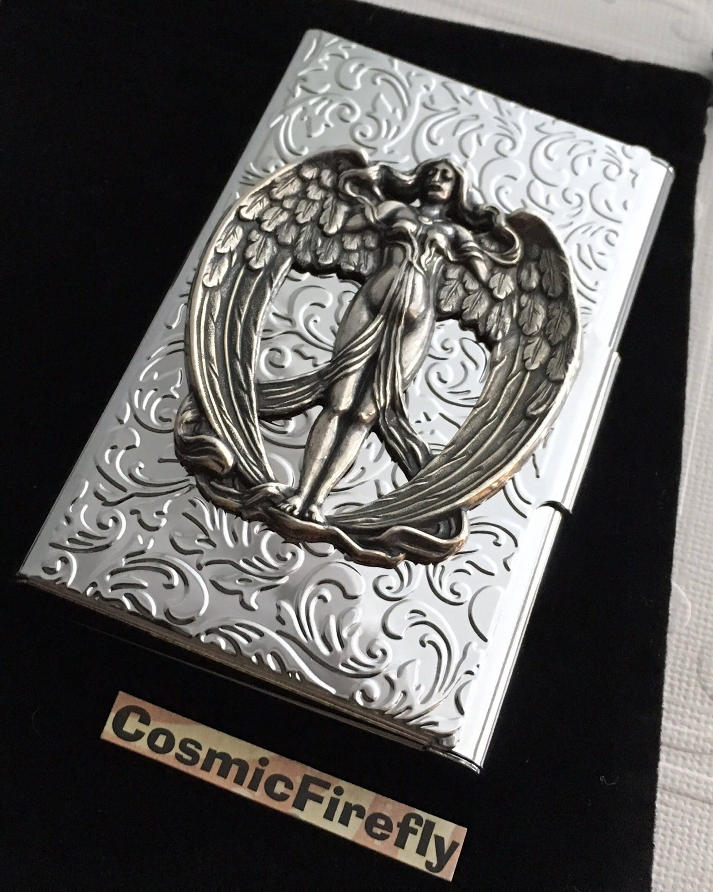 Victorian angel card case silver plated business card case silver victorian angel card case silver plated business card case silver winged angel card case card holder colourmoves Choice Image