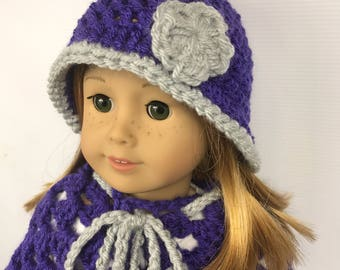"18"" doll poncho, 18"" doll hat, doll clothes, doll back to school wear, purple and gray winter wear"