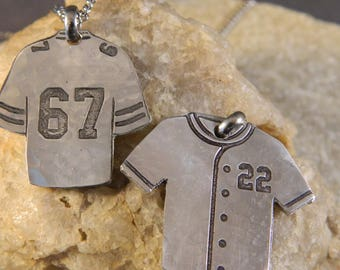 Custom Number Football or Baseball Jersey Etched Necklace