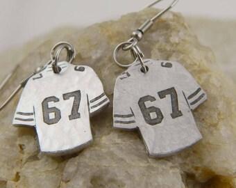 Football Number Custom Jersey  Earrings