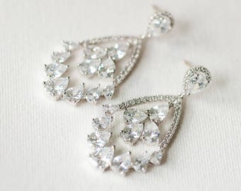Cubic Zirconia Wedding Earrings, Bridal Earrings, Chandelier Bridal Earrings