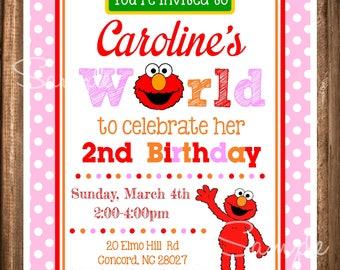 Elmo Invitations, Girl Elmo Birthday Invitations, Elmo's World Invites, Digital Elmo Birthday Invitation, Digital Elmo Invites