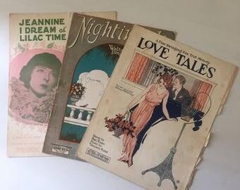 1923 1924 1928 3pc Sheet Music
