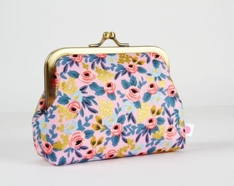 Metal frame change purse - Rosa in violet - Deep dad / Japanese fabric / Menagerie / Rifle Paper Co / Cotton and Steel / Metallic gold