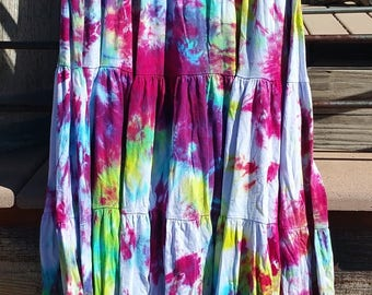 Rainbow Tie Dye Skirt Stretch Cotton Upcycle Size Large