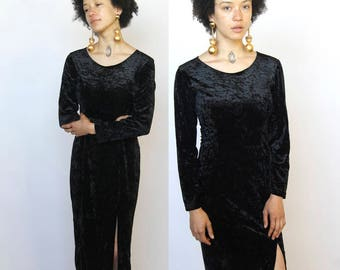 triple threat -- vintage 90s velvet column dress with sexy slit S/M