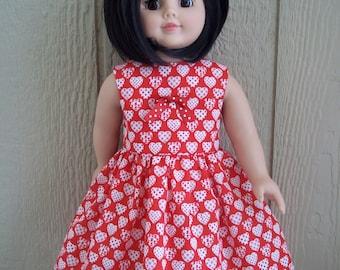 """Polka Dot Hearts dress for any 18"""" doll"""