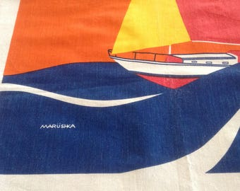 Vintage Marushka Canvas Print, Sailboat, Ocean Waves, Red & Yellow Sails, Golden Sun, Orange Background