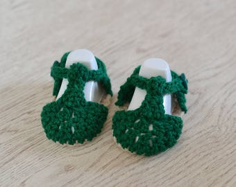 Newborn Boys Summer Sandals, Crochet Shoes, Bottle Green T Bar , Baby Shower Gift, Baby Announcement, New Mums Gift, Baby Bootees, UK