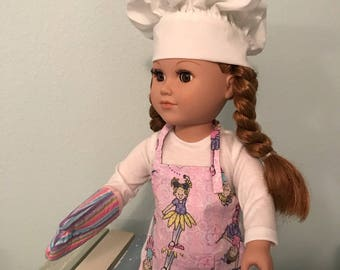 "3-Piece Chef Outfit with Ballerina-theme Apron, Chef Hat & matching Oven Mitt  - 18"" Doll (American Girl or equivalent)"