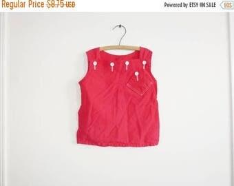 SALE // Vintage Girl's Red Top