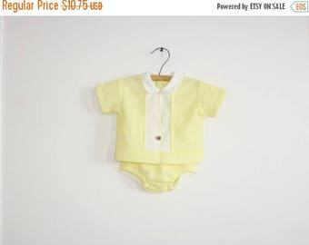 SALE // Vintage Yellow Baby Outfit