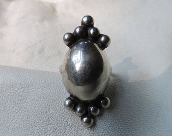 sterling silver oval dome ring hollow ball ring