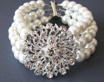 Bridal Cuff Bracelet Wedding Jewelry Bridal Bracelet Bridal Jewelry Pearl Cuff Bracelet Crystal Rhinestone Bracelet