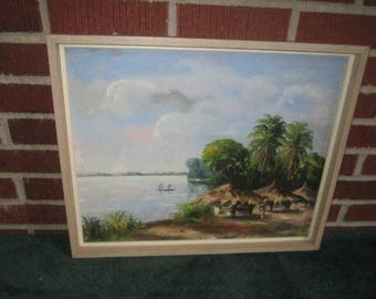 Vintage Signed and Dated '58 Original Framed Oil Painting of Tropical Island Scene