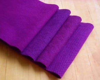 """Hand Dyed Wool Felt, GRAPE, Four 6.5"""" x 16"""" pieces in Regal Purple, Perfect for Rug Hooking, Applique', and Crafts"""