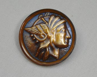 Unusual tinted Plastic Button with the Head of Minerva or Mercury