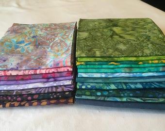 Sun Drenched Batik Fat Quarter Bundle Bright Quilting Sewing Colorful Blue Green Pink Lavender Purple piecesofpine