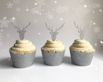 Reindeer Cupcake Toppers| Reindeer Party| Reindeer Decorations| First Birthday Decorations| Christmas Party| Rudolph Party
