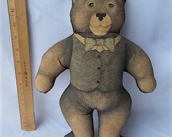 Vintage 1980 Toy Works Cloth Teddy Bear Dapper Hard Body