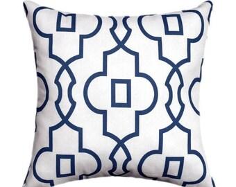 Navy Geometric STUFFED Throw Pillow, Navy Blue Throw Pillow, Bordeaux Navy Lattice Pillow, Geometric Accent Pillow, Navy Pillow - Free Ship