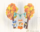 Woodland Party Smash Cake Topper Cute Animals and Fall trees Owl Fox Raccoon Crow Raven Mini Flag banner cake decor
