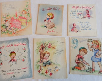 Soft Pastels in Vintage Birthday Cards Circa 1940s Early 1950s Vintage Birthday Lot No 152 Total of 6