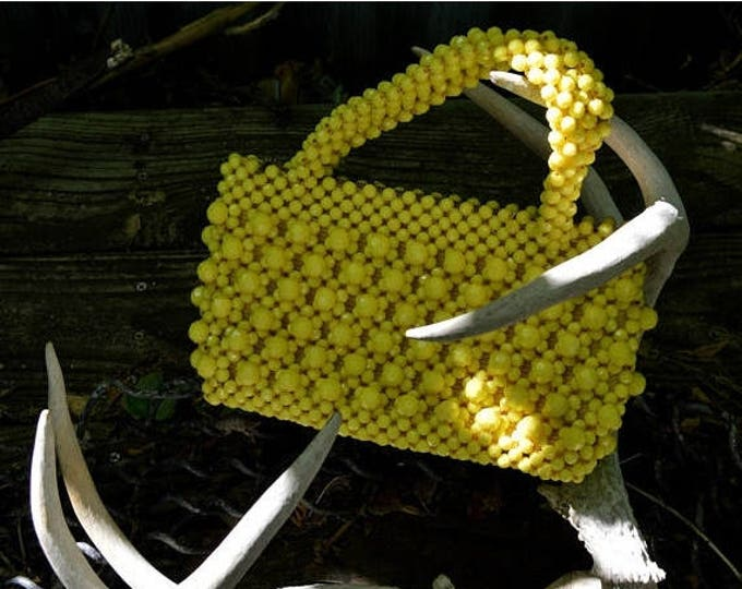 sale Vintage Purse, 60's Purse, Yellow Purse, Beaded Purse, Italian Purse, Lucite Purse, Handheld Handbag, Mod Handbag