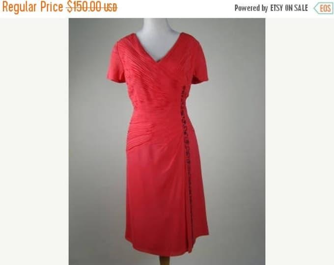 sale Vintage Cocktail Dress, 40s Dress, Coral Dress,  Pleated Dress, Silk Chiffon Dress, Mother of the Bride, Plus Size  Dress, Vintage Dres