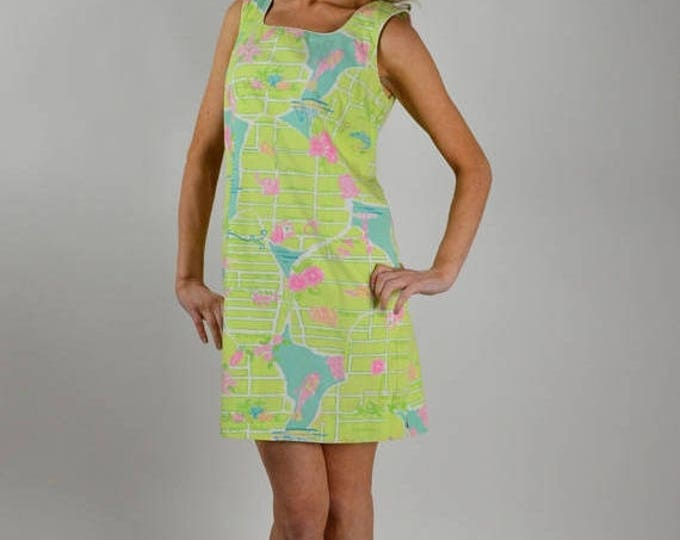 sale Lilly Pulitzer Dress, Vintage Lilly, Palm Beach Map Print, Sheath Dress, Shift Dress, Cotton Dress, Sleeveless Dress, Preppy Dress, Siz