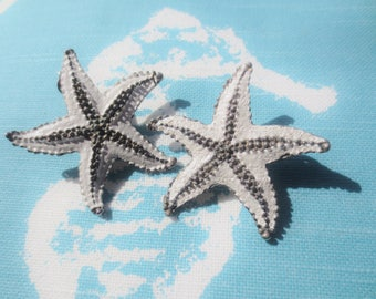 Vintage Starfish Earrings Clip On Silver White Shabby Chic Beach