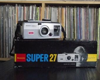 SALE 25% OFF 1960's Kodak Brownie Super 27 Camera with Original Box & Bulb