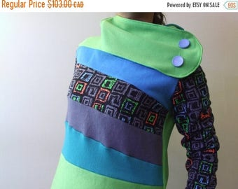 20% SALE Hoodie Sweatshirt Sweater Handmade Recycled Upcycled One of a Kind TOXIC Ladies X-Small - Neon 80s Funky Retro