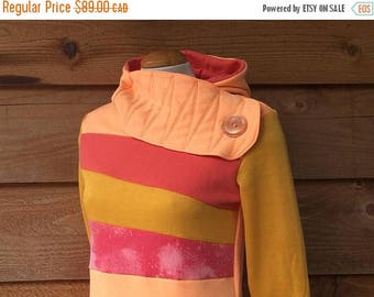 SALE SALE SALE Hoodie Sweatshirt Sweater Handmade Recycled Upcycled One of a Kind Melon Madness Ladies Small - Orange Yellow Pockets