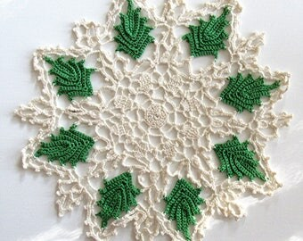 Green Leaf Leaves Crocheted Doily