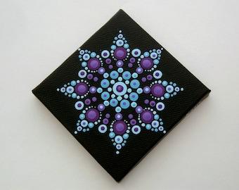 Sale-Mini mandala wall art- 3x3 canvas fine dot art-blue teal purple amethyst-pointillism-dottilism-aboriginal-hippie boho-yoga meditation