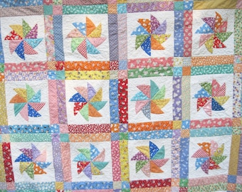 Twin Quilt thirties  toddler lap kids sofa bright old fashioned patchwork quilt pinwheels