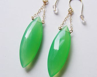 SALE Green Chrysoprase Chain Gold Earrings