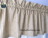 """Primitive Rustic Country Curtain Tea Stained with Blue Ticking Valance Farmhouse Curtain Window Treatment Country Curtain Short 11"""" Curtain"""