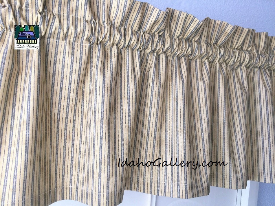 Primitive Rustic Country Curtain Tea Stained With Blue Ticking