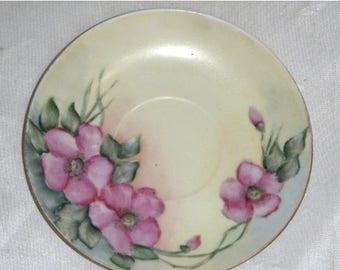 SUMMER SALE Vintage HP Handpainted Primrose Floral Plate Saucer