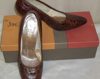 ON SALE Vintage Jac-Juliette Crown Alligator Shoes Pumps 6 1/2M High Heels w/Box