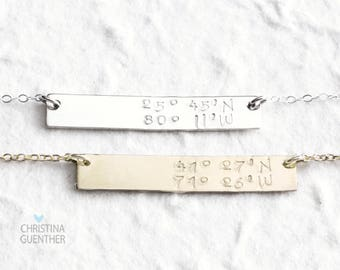 Personalized Bar Necklace, Sterling Silver, Gold Filled, Delicate Layering Necklace, Hand Stamped Name Date GPS Latitude Longitude
